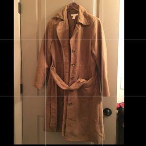 Beautiful long suede trench coat